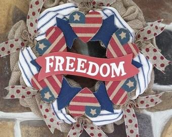 Patriot Freedom Wood and Burlap Wreath