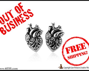 SALE Anatomical Stainless Steel Heart Earrings,Human Heart Earrings,Heart Stud Earrings,Love Gift,Anatomy Jewelry,FREE SHIPPING
