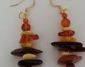 Multicolor Baltic amber - earrings on Gold hook