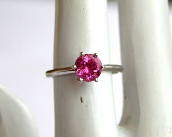 Natural Pink Tourmaline Ring. Faceted Stone. Deep Pink Gemstone Ring. October Birthstone. Stackable Gemstone Sterling Silver Ring for her