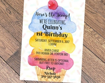 Ice cream invitation, Ice cream Birthday Invitation, Ice Cream Parlour Birthday, Ice Cream Social Invite, Ice Cream Party, 1st Birthday