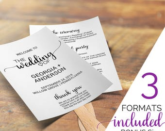 Rustic Wedding Program Fan Template: Printable Order of Service Ceremony Programs, Folded and Tea Length, Instant Download Editable PDF K008