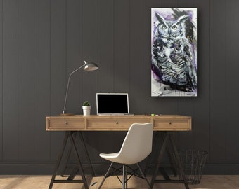 "painting OWL ""Ultraviolet"" acrylic on canvas original painting and one 15 x 30 inches"