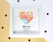 Engagement gift - couples frame - proposal gift - map heart frame,  engagement map gift - gift for couple - custom wedding gift