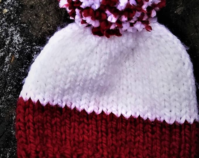 Red and White Pom Pom Chunky Knit Hat (CHOOSE YOUR COLORS)