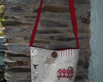 Fabric across body bag sheep design