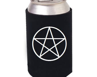 Pentacle Kozie, Pentacle Beer Kozie, Pentacle Mug, Witch beer can kozie, Witch mug, Witch Wine Glass, Wiccan decor, Wiccan Kitchenware
