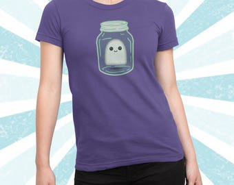Super cute Ghost in a jar shirt - Kawaii Ghost tshirt - Rick and Morty - Cute Boo Halloween t-shirt - Spooky - Ghost in a bottle - Cotton