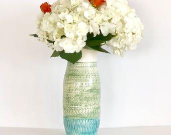 Handmade Tall Green and Aqua Ceramic Flower Vase