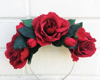 Red Rose Crown, Red Rose Headband, Red Flower Crown, Wedding Crown, Red Hair Accessory, Red and Green, Rose Hair Flowers, Halloween Crown