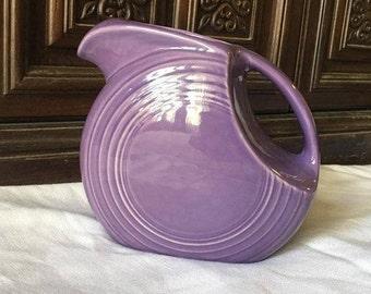 Rare Homer Laughlin Fiesta Lilac Pitcher ~ Fiestaware Purple Pitcher ~ Disk Pitcher
