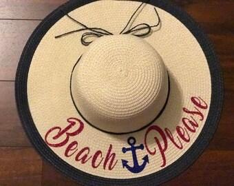Beach Please Floppy Hat