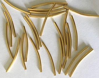 22K Gold Plated 25x1.5mm Curved Tube Spacer Beads PK20