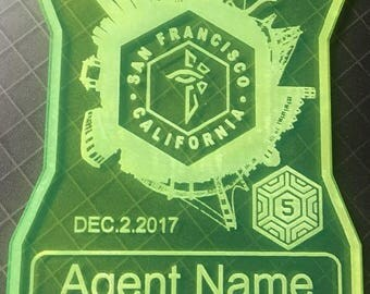 EX05 San Francisco  laser cut agent badge (Free domestic shipping and badge clip)