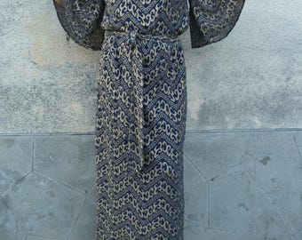 authentic 70s long dress s PIERANY pret a porter size 42/44ue - uk 14/15 - 10/12 us