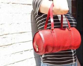 Louis Vuitton Epi SOUFFLOT Castilian Red Handbag Purse Satchel Authentic Vintage YO3608