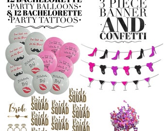 Bachelorette Party Decorations & Bachelorette Party Favors | Includes 12 Balloons, 12 Tattoos, 3 Piece Banner and 1 Bag of Pecker Confetti