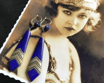 Années 20 Français Antique vintage Boucles d'oreille Art Deco cristal bleu et argenté Egyptian Revival Egyptmania Miss Fisher Downton Abbey