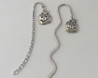 Pumpkin bookmark, literary book lover gift, silver tone pumpkin bookmark, spooky fall bookmark, gothic birthday gift