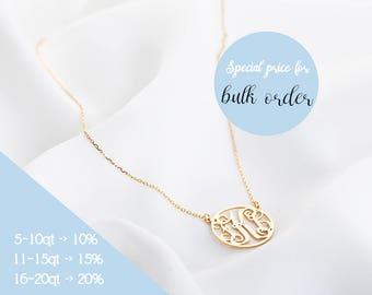 Custom Monogram Necklace, Monogram Necklace, Initial Necklace, Monogram Jewelry, Initial Necklace in Rose gold, Silver, Gold
