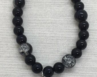 Black Beaded Bracelet with Locket Charm