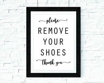 Modern Please Remove Your Shoes Printable Sign, Shoes Off Sign, Entryway Sign, Mud Room Decor, Entry Sign, Remove Shoes Sign