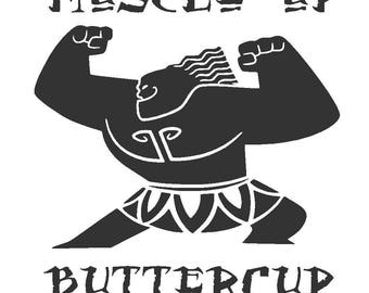 Maui Muscle Up Buttercup Vinyl Decal | Disney's Moana | Yeti Cup Decal | Car Window Sticker | Laptop Decal |