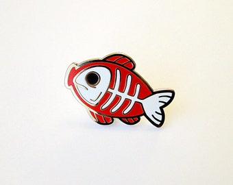 fishbone hard enamel pin