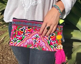 Embroidered Wristlet Clutch. Boho Bag. Beach Bag. Bohemian bag. Hmong bag. Embroidered bag. Makeup Bag. Cosmetic Bag.