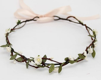 Bridal Headpiece, Boho Wedding Headpiece, White Flower Halo, Boho Headband, Bridal Floral Crown Wedding Hair Wreath, Boho Flower Crown READY