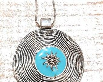 Free shipping,Sun Necklace,Sun Jewelry,Turquoise Sun pendant Necklace,Silver Sun Pendant Necklace,Boho Turquoise necklace,Big Silver pendant