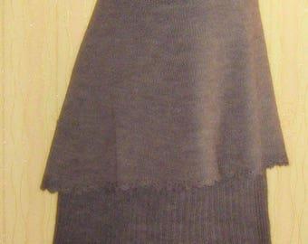 Hand Knitted skirt. Maxi Skirt.Lagenlook skirt. Winter skirt. Knitted double-layered skirt. Warm Skirt. Hand knitted Wool Skirt. Seamless