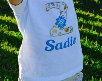 Girls 2 year old Birthday shirt/Girls Personalized birthday shirt/3/4/5/Leopard print