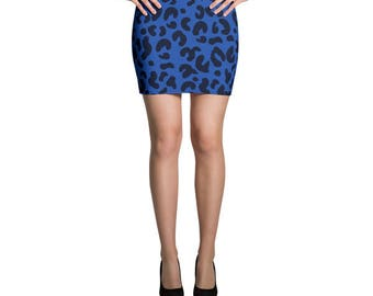 Leopard Print Skirt, Blue Skirt, Jersey Skirt, Fitted Skirt, Bodycon Skirt, Pencil Skirt, Printed Skirt, Mini Skirt, Comfy Beach Skirt