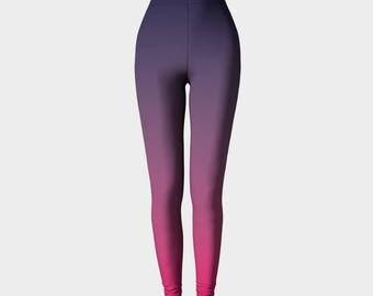 Ombre Leggings, Navy and Pink Leggings, Printed Leggings, Navy Leggings, Workout Leggings, Gradient Leggings, Fashion Leggings,