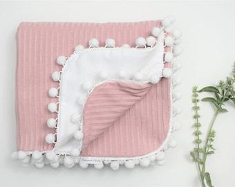Pink Knit Pom Pom Blanket, White Flannel Pom Pom Blanket, Baby Girl Blanket, Pom Pom Baby Blanket, Knit Blanket, Pink Blanket