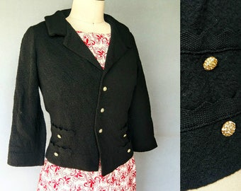 standby / 1950s wool knit blazer with rhinestone buttons / large