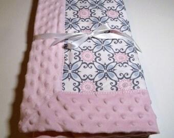 Baby Girl Blanket Pink Minky Blanket Baby Girl Minky Flannel Blanket Pink Blanket Baby Shower Gift New Baby Gift Minky Baby Gift