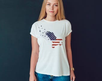 Patriotic Bald Eagle T-shirt for Women - USA Tee for Her - Freedom Shirt - Patriot T-shirt - Flag T-shirt - Born in the USA