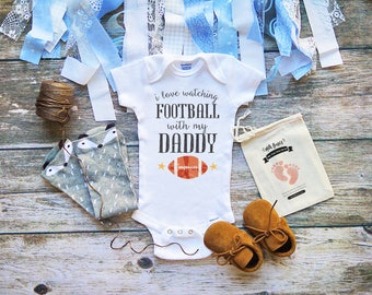 I Love Watching Football With My Daddy Onesies® - Game Day NFL Football Shirt for Babies - Cute Football Onesies - Adorable Sports - M346