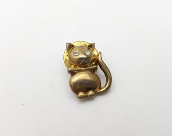 Miniature Cat Pin Gold tone metal Vintage Clear Rhinestones Eyes Collar and Bow Kitten Brooch tiny mini