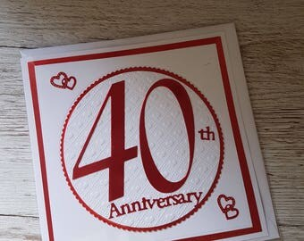 Handmade ruby wedding anniversary card/ 40th wedding anniversary card
