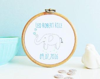 Elephant Gift, Elephant Nursery Gift, Baby Elephant Gift, Elephant Christening Gift, Newborn Baby Gift / Custom Hand Embroidered Hoop
