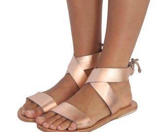 Criss Cross Sandals - Rose Gold