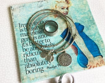Marilyn Monroe - Trinket Tray - Jewelry Tray - Ring Dish - Trinket Dish - Desk Organization - Catch All - Inspirational Quote - Gift For Her