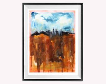 Bold Abstract painting, Drip Art, Original Watercolor, Original Abstract, Landscape painting, blue and Orange, Painting, ZippartCo, 14x20 N