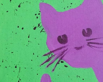 Acrylic Purple Cat Painting