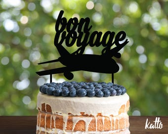 Bon Voyage Cake Topper, Goodbye Cake Topper, Travel Cake Topper, Bon Voyage Party Decor,Airplane cake topper, Airplane Party, cake topper