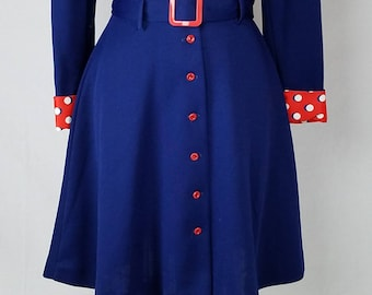 Vintage 1970s blue belted shirt dress