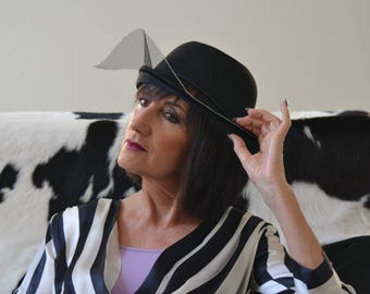 Black bowler standout hat